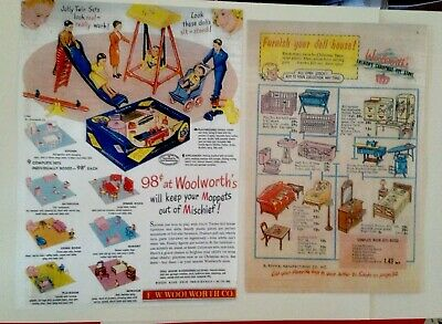 2  Different RENWAL DOLL HOUSE FURNITURE ADS - Photocopies