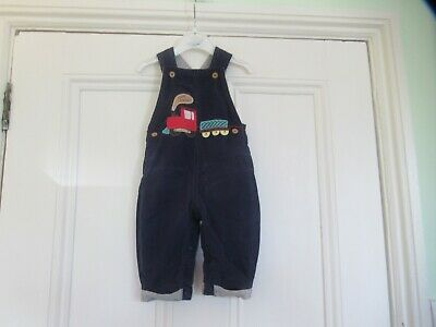 3-6m: Cute blue cord dungarees: Applique train: Jersey lining: Good condition