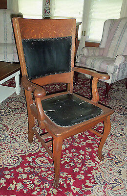 ANTIQUE TIGER OAK ARM CHAIR w/ LEATHER BACK & SEAT INSERT - KNOWLTON MFG NY