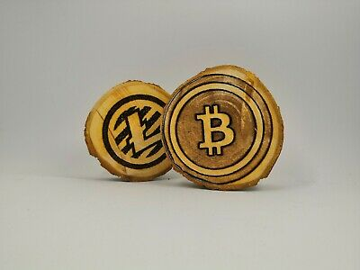 Bitcoin Cryptocurrency Wallet QR Code Wodden Piece Customized gift crypto