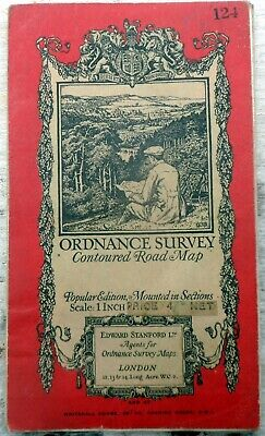 ORDNANCE SURVEY GUILDFORD & HORSHAM Popular edition 1932 cloth dissected