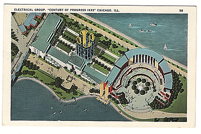 VTG Postcard World's Fair 1933 Chicago Ill Electric Group Century of Progress K3