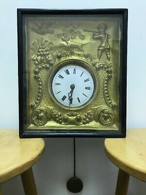 19Thc Antique Victorian Era Gilt Brass Repousse Wall Figural Scene Hunting Clock