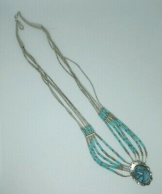 Sterling Silver Navajo Style Liquid Silver And Turquoise Necklace