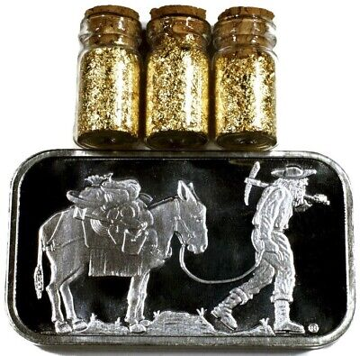1 Troy Ounce .999 Silver Bullion Retro Prospector Bar Bu + 3 Jars 24K Gold Flake