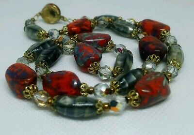 Vintage Art Deco End Of Day Bohemian Glass Bead Necklace Box Clasp