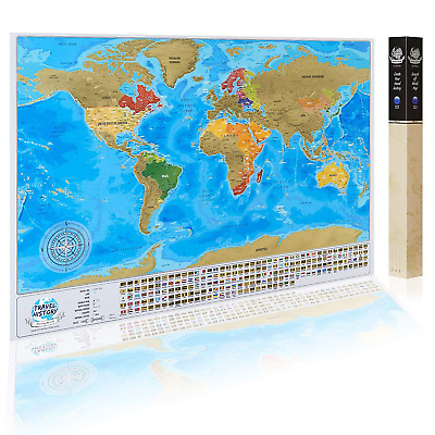 Detailed Scratch Off World Map with Flags, Original Gold Colors Surface Design,