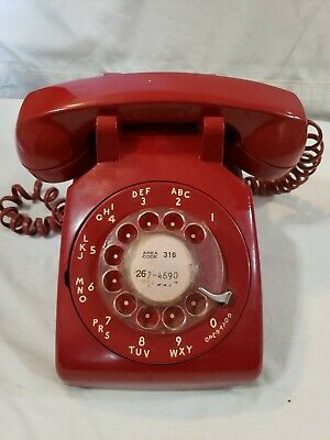 Vintage Rotary Dial Red Bell System Western Electric Desk Telephone 500DM WORKS