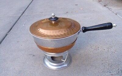 MCM 4 Piece Hammered Honeycomb Copper & Metal Chafing Dish On Aluminum Stand