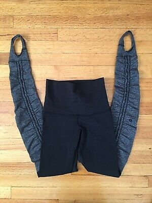 6067aeddc Lululemon Wunder Under High Waist Black Herringbone Stirrup Leggings Size 2  EUC