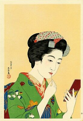 Rare GOYO Japanese Shin-Hanga woodblock reprint: GIRL APPLYING LIPSTICK""