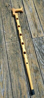 Vintage Handmade Wooden Cane Walking Stick Light Brown Craft Decor Art Cosplay