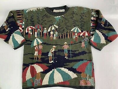 MEN'S MEDIUM VINTAGE CROSSINGS Masters Golf Crewneck Ugly Sweater A1407