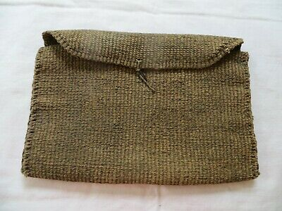 Antique Asian Bag Made With Twisted Paper Fold Over 6 1/2 x 10 3/4 Folded