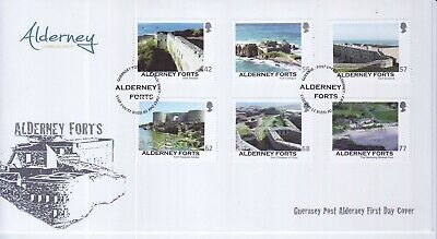 GB Stamps First Day Cover Alderney Forts, castles, engineering etc SHS Text 2015