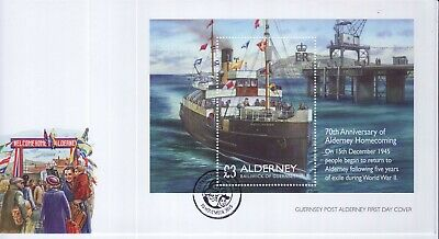 GB Stamps First Day Cover Alderney WWII Homecoming Mini sheet SHS Islanders 2015
