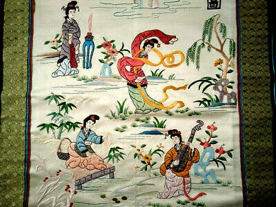 Amazing Chinese Vintage Silk Embroidery  Scenic Figural Panel or Wall Hanging