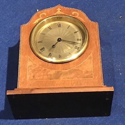 Edwardian Mantel Clock Mahogany With Inlays Timepiece Movement