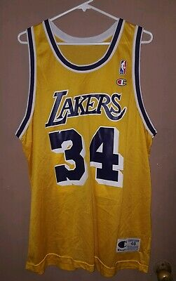 bd42e35c933 Vintage Champion Shaquille O'Neal Shaq Los Angeles Lakers 48 XL 90s NBA USA  Made