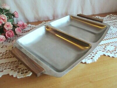 VINTAGE MID CENTURY MODERN STAINLESS STEEL DIVIDED SERVING TRAY w TEAK WOOD HAND