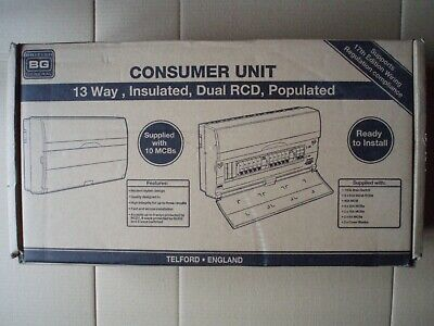 british general (bg) 13 way populated consumer unit  new, box opened only