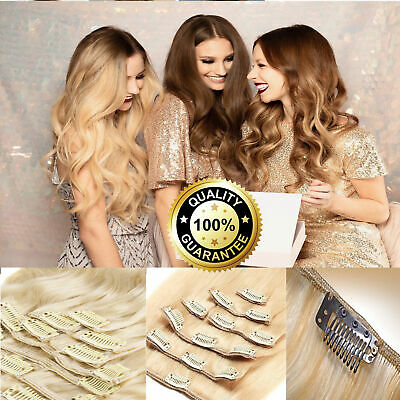 "14""-30"" Clip in Double Drawn Remy Human Hair Extensions 18 clip 8 piece 70g AU"