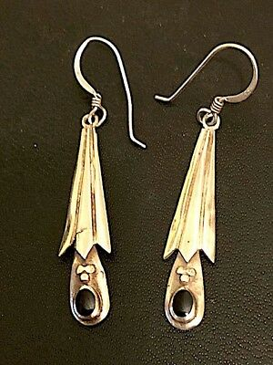 Early vintage Arts and Crafts style drop earrings in sterling silver with onyx.