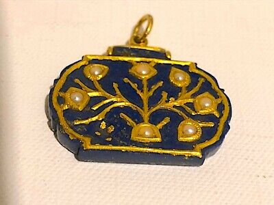 Antique Middle Eastern or Raj ? lapis lasuli and gold pendant. Fabulous. As seen