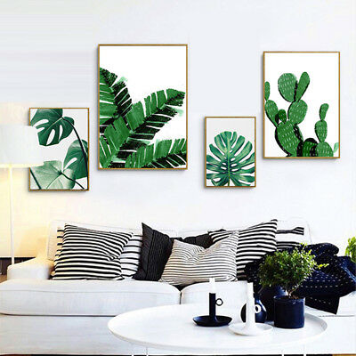 Fj- Tropical Green Leaves Canvas Wall Painting Poster Picture Art Home Decor Fad