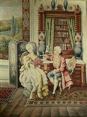 Huge Antique Vintage Needlepoint Panel 18th C Scene  82 x 62 cms
