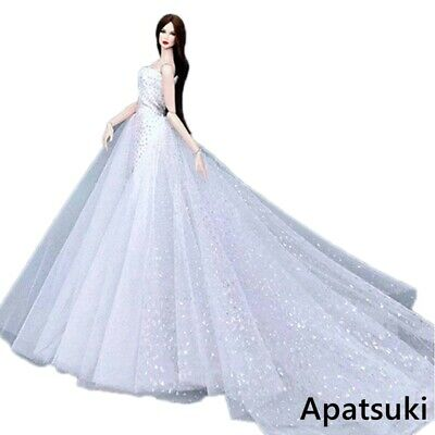 White Fashion Doll Dress for Barbie Doll Clothes Outfits Big Dresses Party Gown