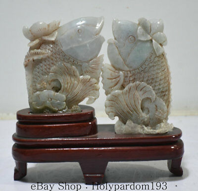 "8"" Old China Natural emerald jade Jadeite Hand Carved Animal Fish Statue Pair"