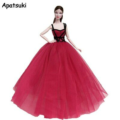 Red Black High Fashion Doll Clothes for Barbie Doll Dress Outfits Party Gown Toy