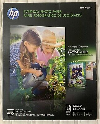 "HP Glossy Everyday Photo Paper Discontinued By HP 25 Sheets, 8.5"" x 11"" FreeShip"