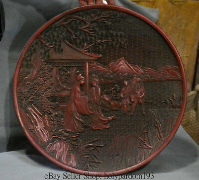 "15"" Antique Chinese Red lacquerware Hand Carving Pine Tree Woman Man Round Plate"