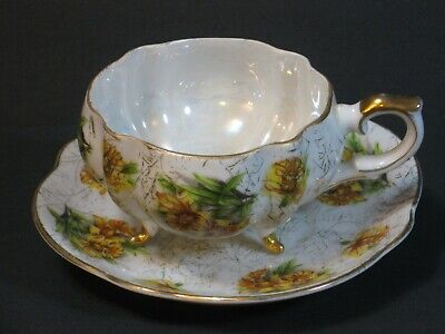 Vintage Iridescent China 3 Footed Scalloped Cup & Saucer Yellow Flowers Gold EUC