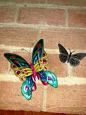 """7.5"""" 4"""" Metal Brass Color Wing RAINBOW MONARCH SWALLOWTAIL Butterfly Lot of 2"""