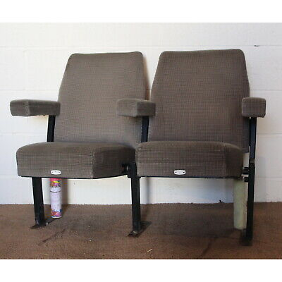 A Pair of Retro C1970s Cinema Theatre Seat or Chairs Grey Upholstery
