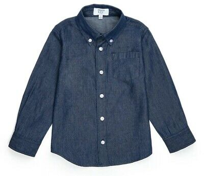 Nwt Crown & Ivy Boys Blue Chambray Long Sleeve Button Up Shirt Size 4T ~Msrp $28