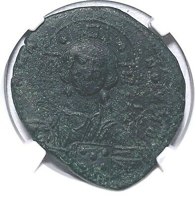 BYZANTINE EMPIRE NGC XF 3/5 3/5 ANONYMOUS ISSUE CHRIST BUST AE FOLLIS 8.29g  027