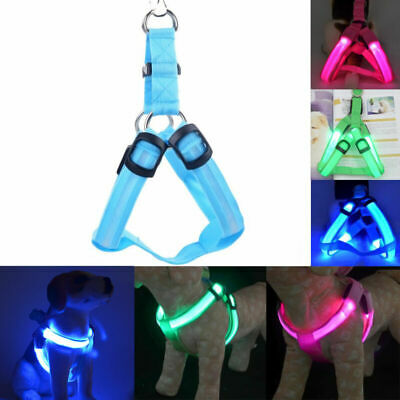 Pet LED Glow Safety Collar Rope Light Dog Puppy Belt Harness Leash Tether Fast