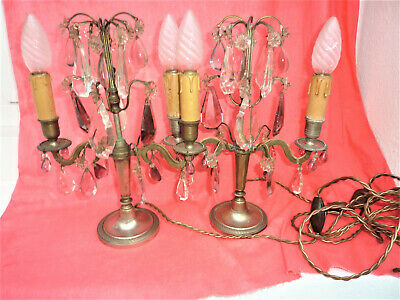 ANCIENNE PAIRE DE GIRANDOLES  PAMPILLES CHANDELIERS BOUGEOIRS old candlesticks