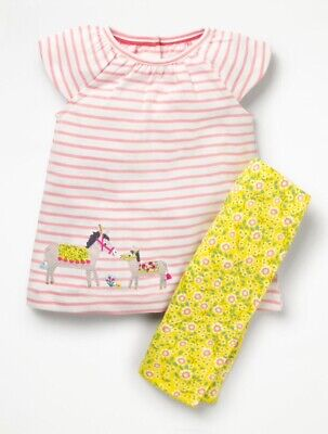 MINI Boden Baby GIRLS Fun Appliqué Play Set TOP&PANTS BRAND NEW 12 - 18 Months