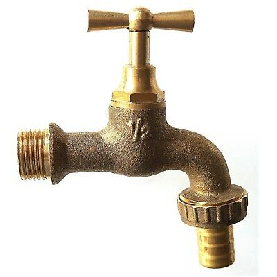 Diamond 1/2 Old Style Vintage Brass Tap with Hose Adaptor