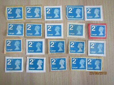 GB, 20 x 2nd class Large Letter Stamps used, unfranked see photos