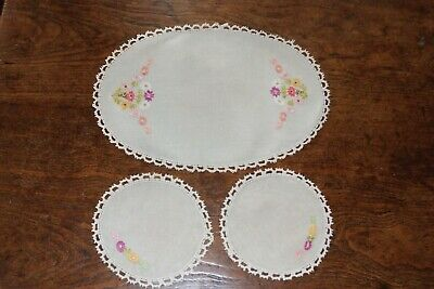 Vintage Hand Embroidered Linen Table Mats with Crochet Edge - Three - Unused