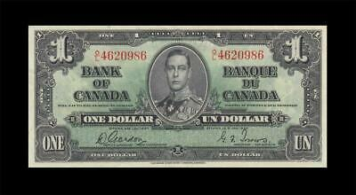 "1937 BANK OF CANADA KGVI $1 **Gordon & Towers** ""O/L"" (( EF+ ))"