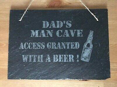 Personalised Slate funny fathers day plaque, dad,sign, grandad, any name