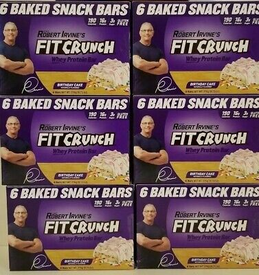 36 Bars Robert Irvines Fit Crunch Whey Protein Baked Snack Birthday Cake