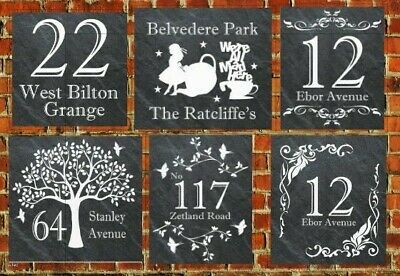 Rustic welsh Personalised Slate Door Gate Plaque number name plate Sign